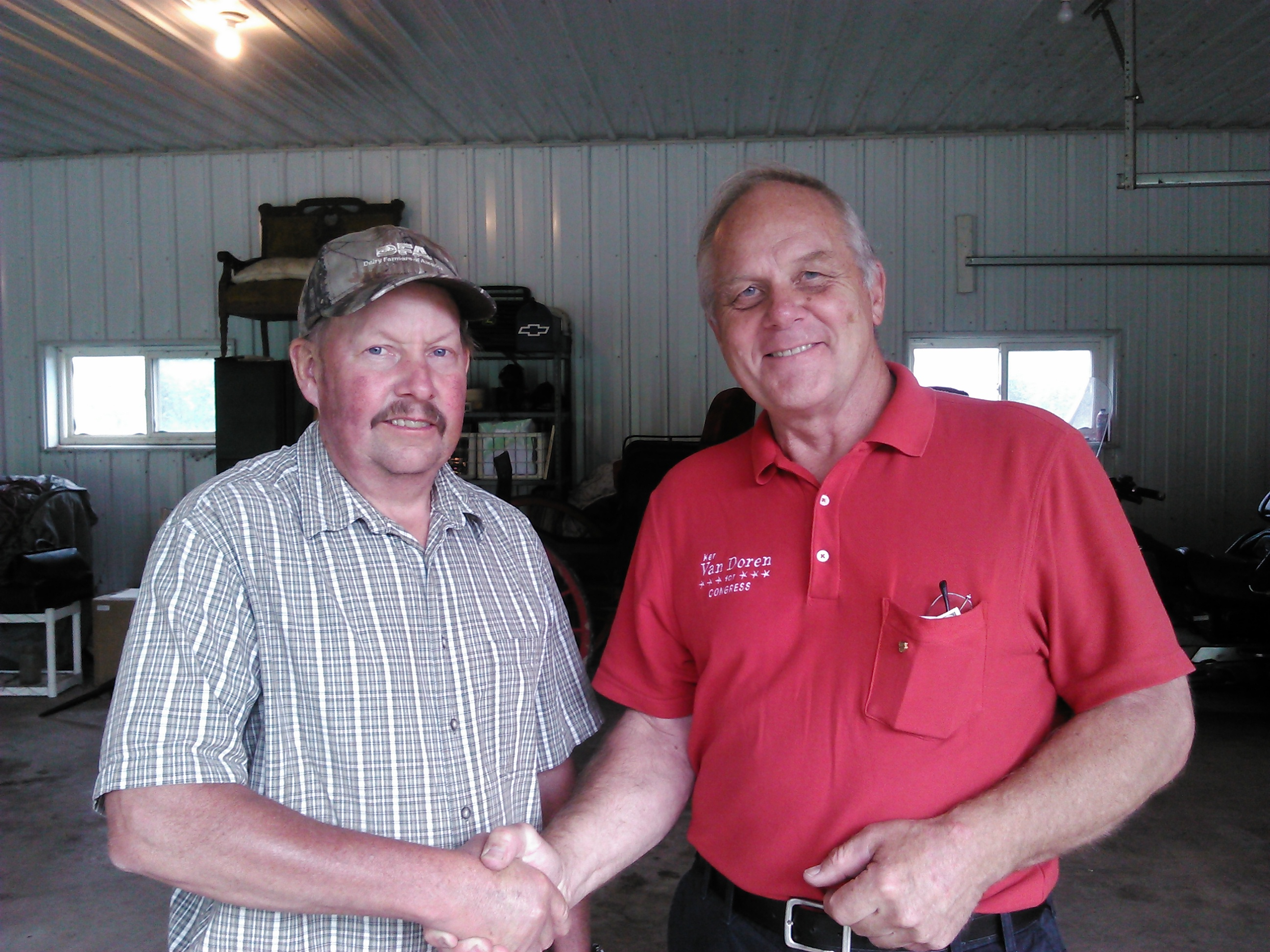 Steven Kling of Kling Dairy Farms in Taylor, with Ken Van Doren.